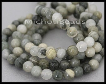 12 Beads - 6.5mm Green Line JASPER Round Gemstone Bead - Genuine Natural C Grade Semi precious Stone - Instant Shipping - USA - 6810