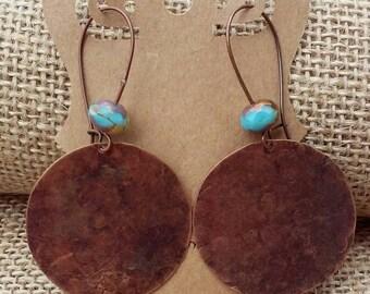 Large Dangle Earrings. Antique Copper Dangle Earrings. Hammered Earrings