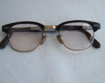 Vintage 1950s US Optical Cat Eye Double Bifocal Glasses