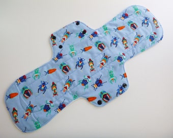 17 inch postpartum cloth menstrual pad - super absorbency - extra long pad - plus size cloth pad - blue beetles flannel - ready to ship