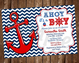 Nautical Anchor Baby Shower Invitation (NU01)