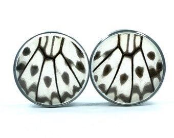 "Real Butterfly Wing Plug Tunnels 1/2""-1""- Sunset Moth Plugs (choose your own size)"
