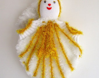 Knitthing Dress Princess Doll Baby Shower Gift White Dolly in Yellow and Teal Dress Hand Knit Stuffed Doll Girls Knit Baby Knit Doll