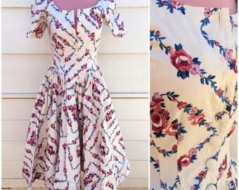 Karen Alexander vintage 90s floral corset bust, full skirt dress size small