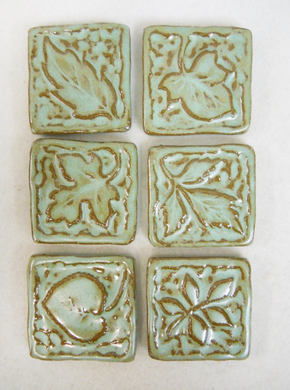 Handmade Decorative Ceramic Tiles Leaf Patterns Set Of 6