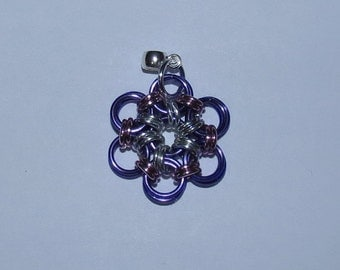 Flower pendant Necklace Purple and Pink