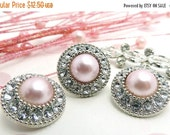 ON SALE 10 Rhinestone Pearl Buttons Plastic Acrylic PINK Pearl Buttons Embellishments Clear Rhinestone Flower Centers Diy Weddings 25mm-3367
