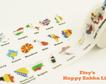 Maps of the European Countries - Japanese Washi Masking Tape - 11 yards
