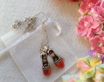 Inspired by Wizard of Oz. Dorothy's Red Ruby Shoes Pendant Necklace.
