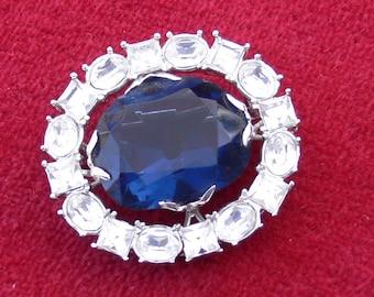 big blue glass brooch
