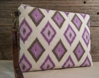 Large purple wristlet in decor fabric with diamonds wristlet strap in leather -simple large wristlet- wallet with a zipper in purple.