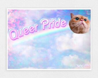 """Queer Pride 8"""" x 10"""" Space Cat Print - LGBT Rainbow Cats Kitten Pastel Kawaii Gay Pride Space Cat Laser Cat"""