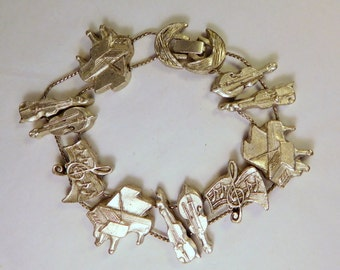 Vintage MUSIC Slider Bracelet - STRING Instruments Violin Cello - PIANO Charms - Silver Tone - Band - Music Lover Jewelry