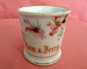 "Vintage ""Tom & Jerry"" Mug 1930s/40s - White porcelain with Pink Flower Transfer Pattern, gold on rim and base, no mark, possibly Germany"