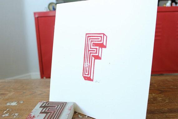 Linoleum Print Poster - F