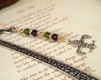 Beaded Bookmark with Charm, Fleur De Lis Charm Bookmark, Beaded Metal Bookmark. Gift for Her, Gift for a Reader, OOAK Handmade Bookmark.