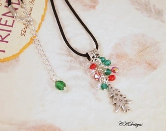 Christmas Necklace, Christmas Charm Necklace. Christmas Tree Necklace, Handmade Christmas Necklace. CKDesigns.us