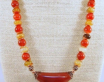Bohemian Style Necklace, Rainbow Jade and Copper Necklace, Statement Necklace, Jasper Necklace, Natural Stone Jewelry CKDesigns.us