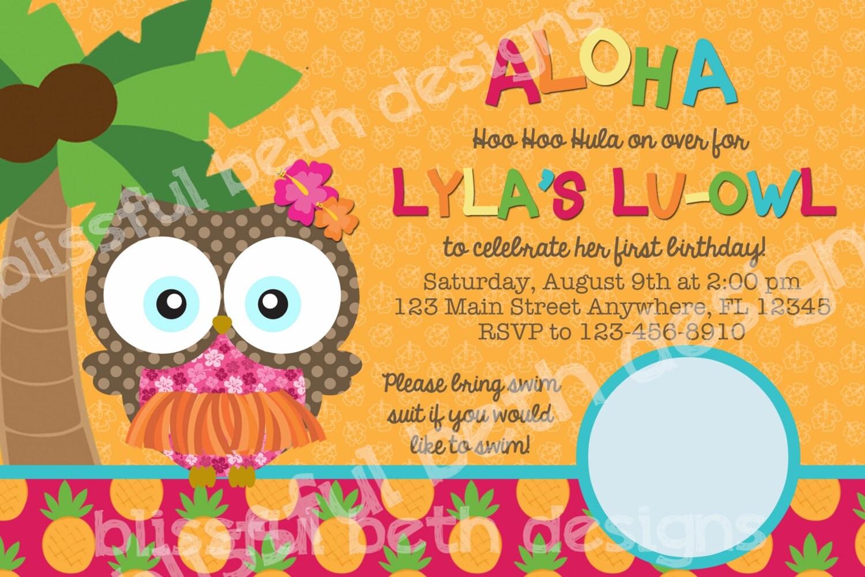 ALOHA LU-OWL Birthday, Lu-owl, Luau, Aloha Owl, Luau Owl, Owl Invite ...
