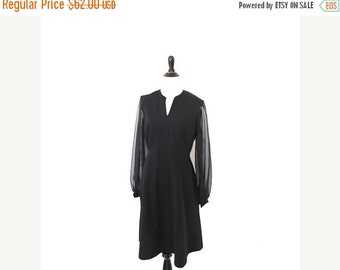l SALE l Vintage 1960's Black Mini Dress Sheer Sleeves Size Small