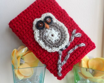Hand Crocheted Deep Red Owl Kindle Nook Kobo E-reader Tablet iPad Sleeve Cover Holder