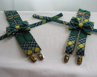 Twins Matching Suspenders and Bow Tie Set, One Year Old Twins Bow Tie and Suspenders, Father Son Suspenders and Bow Tie Set
