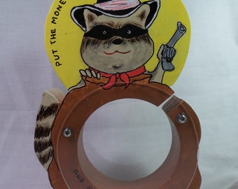 Moving Sale - Raccoon Bandit Wooden coin bank