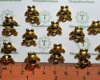 12 pairs of 8mm 3D Frog Beads Antique Gold Lead Free Pewter