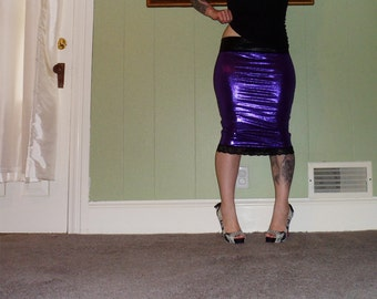 Lust In Space - A Shimmering Purple Foil Pencil Skirt