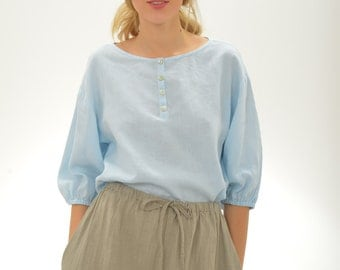 Pure Linen Blouse Shirt With Wide Sleeves
