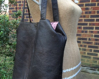 Recycled leather bag - dark Brown distressed leather - crossbody-shoulder,hand held,adjustable strap.