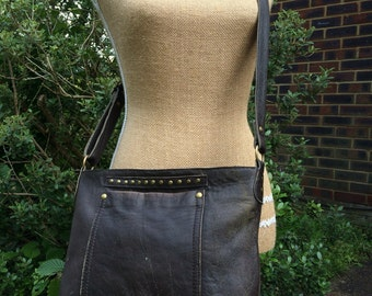 Distressed Brown leather bag- Recycled leather-cross body- shoulder- adjustable strap- zip closure. Get 20% off see details