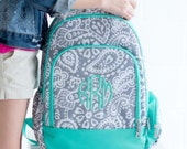 Personalized Backpack - Monogrammed Backpack - Personalized Book Bag ~ 14 patterns ~ Gray Paisley Backpack ~ Quick Shipping!