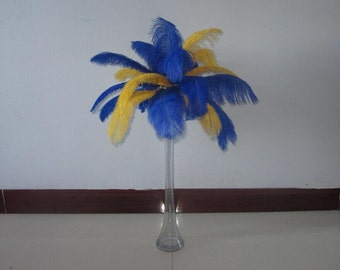 100 feathers Yellow & Royal Blue Ostrich Feather Plume for Wedding centerpieces,