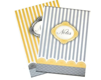 Yellow and Grey Parisian Blank Journals Set of TWO  5 x 7 Stripes and Paisley