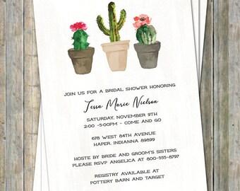 Cactus Bridal shower Invitation, watercolor, Digital, Printable file