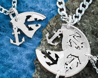 Anchors Away necklaces, 4 best friends or Family Necklaces, Four pieces interlock, Hand cut coin