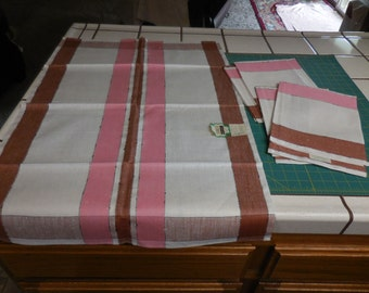 Five Vintage New Old Stock Neapolitan Colored Linen Dish Towels - Pure Linen Pink, Brown and White Striped Vintage Nos Dishtowels