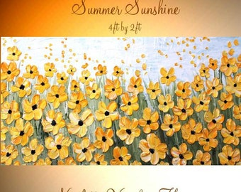 """XL Oil Yellow floral painting""""Summer Sunshine"""" Abstract Original Modern 48"""" palette knife impasto oil painting by Nicolette Vaughan Horner"""