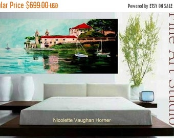 Sale Large Giclee on  canvas  of Lake Como,Italy,original painting by Nicolette Vaughan Horner