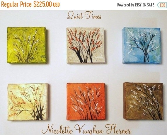 Sale Original   abstract contemporary  6 Panel fine art  floral painting by Nicolette Vaughan Horner