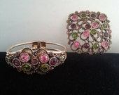 NOW ON SALE Vintage Pink Purple Green Rhinestone Brooch & Matching Bracelet  1970's Collectible Sarah Coventry Designer Signed Vintage State