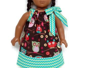 18 inch Doll Clothes Pillowcase Dress Owls Chevron Teal 15 inch Doll Clothes