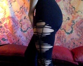 Black cotton ripped leggings - single braided leggings - women's slashed leggings