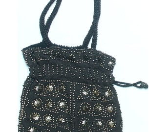 Vintage 80s Black Beaded Evening Drawstring Mini Bag Handbag