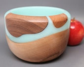 Artistic Turned / Carved Wooden Bowl made of Maple, Black Walnut, & Cherry Wood(s) with Frost Lite Green Resin - Collectible Wedding Gift