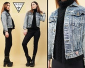 80s 90s Vtg Classic GUESS Jeans Acid Wash DENIM Jacket Fitted Sleeve Georges Marciano Button Up Grunge Punk Stone Wash Coat / Xxs Xs