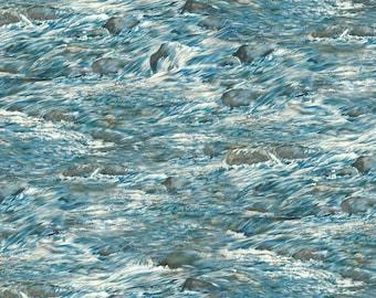 BEAR MEADOW-aqua blue water rapids -rocks- landscape  by the 1/2 yard Wilmington fabric-94758-449
