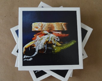 "Set of 4 ""The Pitts-burger"" coasters art tiles"