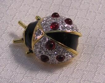Vintage Joan Rivers Enameled Pave Crystal Beetle Brooch, Lady Bug Brooch